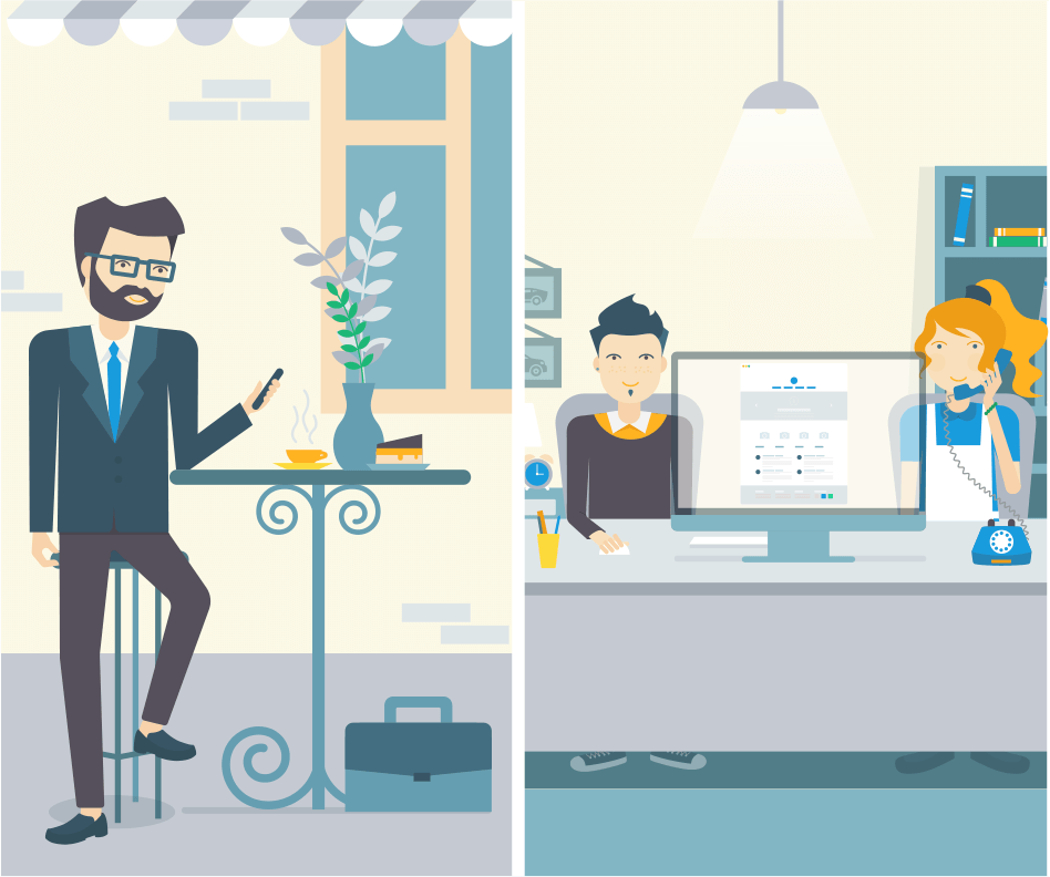 Working At The Office Illustration